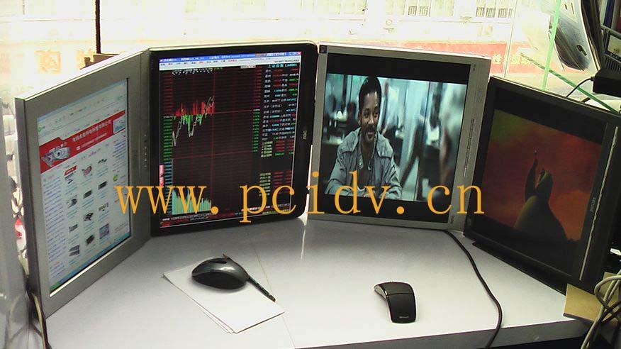 pcidv.com/显示器旋转90度拼接液晶电视墙,分屏显示不同画面