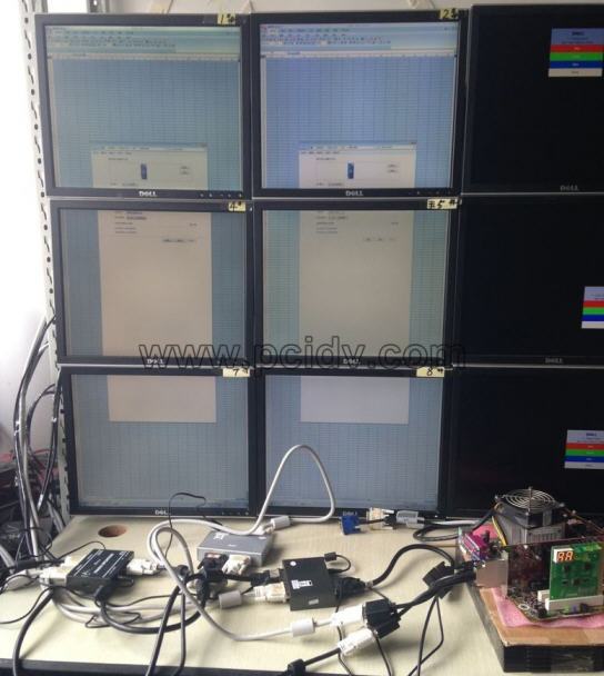 pcidv.com/电脑4连屏LED显示器+dvi分配器=6屏/8屏输出效果
