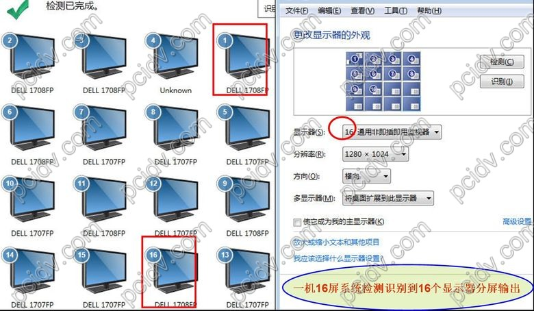pcidv.com/冶天显卡一机多屏16屏显示分屏输出
